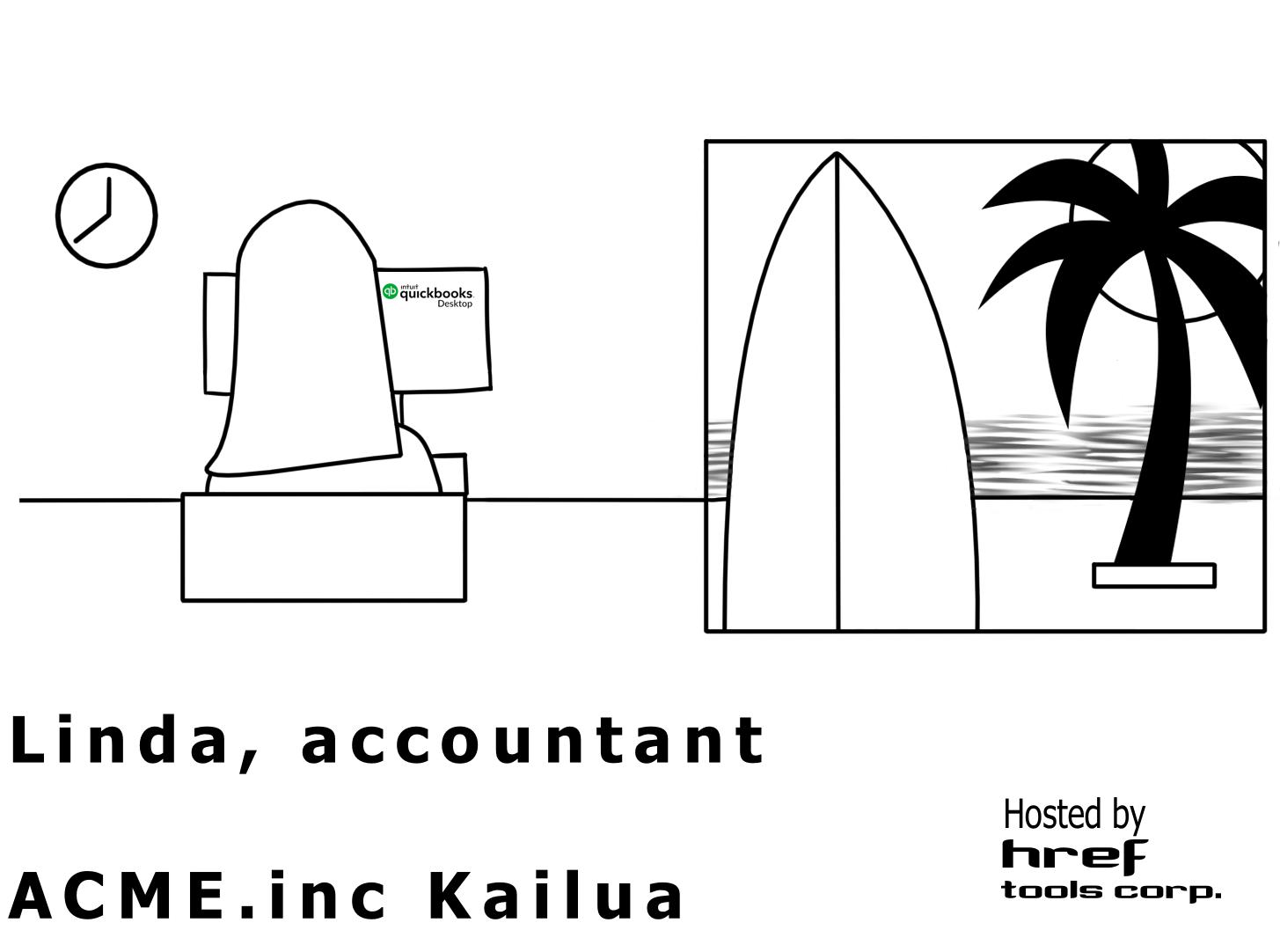 Linda working in Kailua